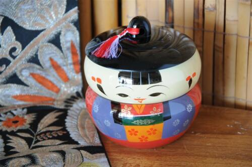 Vintage Japanese Lacquered Two Piece Lunch Bowl Set...