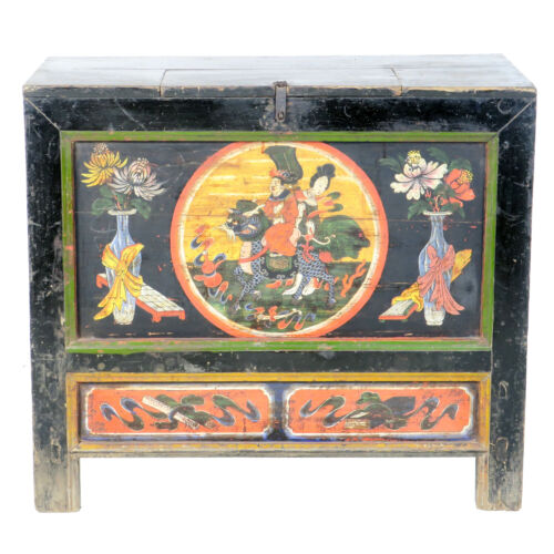 "Antique Chinese Mongolian 37"" Wide Cabinet Chest Trunk Hand Painted Designs"