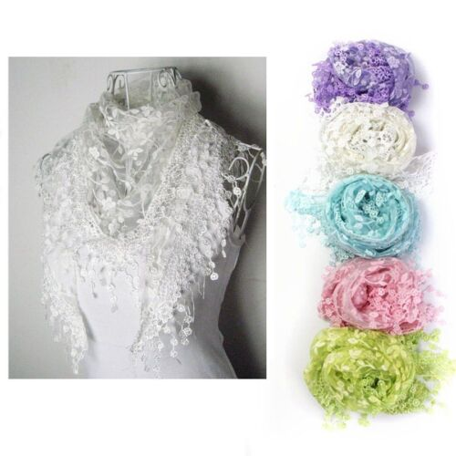 New Women Lace Tassel Sheer Metallic Burnt-out Floral Print Triangle Scarf Shawl