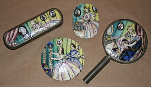 "Early Deco Enamel w/ Pewter Cotillion Painted  Dresser Set/""Crinoline Lady"""