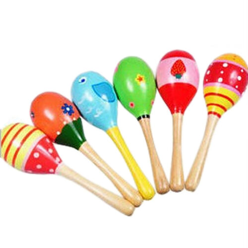 Colorful Baby Kid Percussion Musical Instrument Sand Hammer Rattle Wooden Toy
