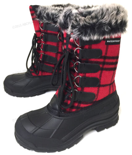 Womens Winter Boots Flannel Plaid Fur Warm Insulated Waterproof Hiking Snow Shoe