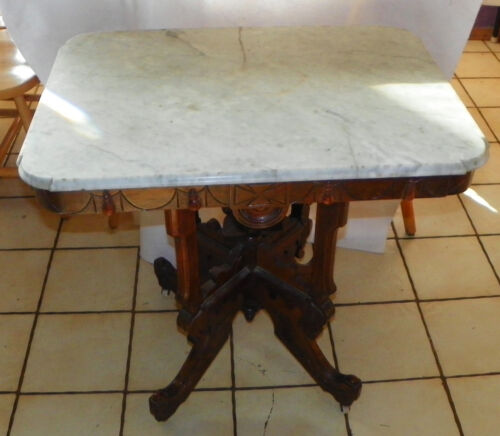 Walnut Carved Marble Top Parlor Table by Abernathy  (T508)