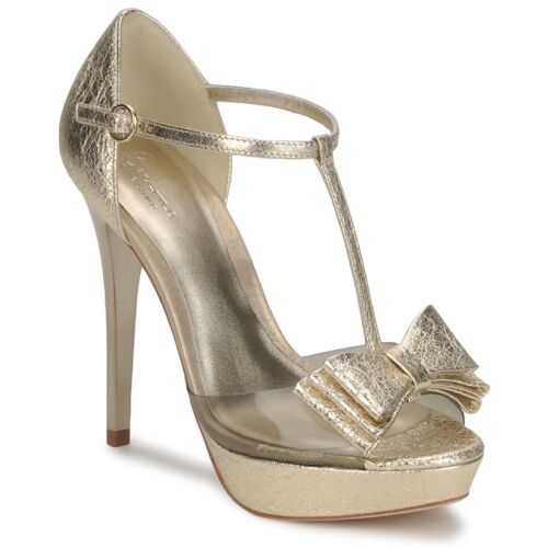 RRP £151 SIZE 4 4.5 5 5.5 6.5 BOURNE MAY GOLD REAL LEATHER T BAR SANDALS SHOES