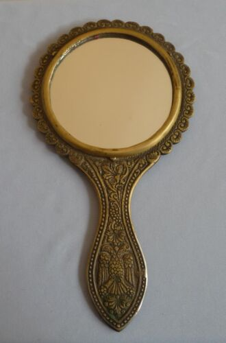 ANTIQUE BRASS ORNATE HAND MIRROR DOUBLE HEADED EAGLE