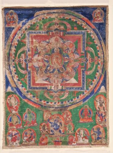 Early 20th C. Large Sino-Tibetan Thangka Mandala Chakrasamvara Mahakala