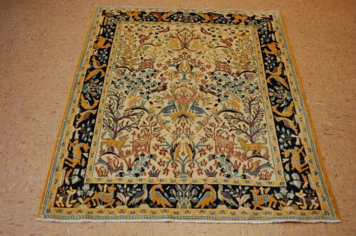 c1930s ANTIQUE HIGHLY DETALED QOME RUG 3.7x5 LOTS OF SILK ACCENTS_BEAUTY
