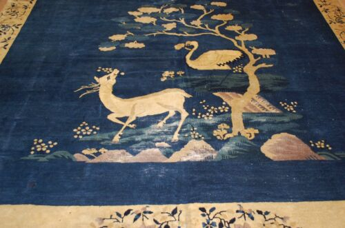 Pre 1900s ANTIQUE IMPORTANT CHINESE PICTORAL RUG 9x11.6 STORK and DOE_RARE SIZE