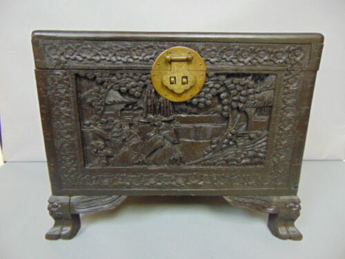 ANTIQUE HAND CARVED CHINESE CAMPHOR DOCUMENT TRUNK CHEST
