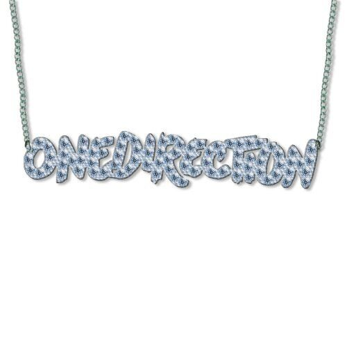 1D One Direction Band Name Necklace Chain Diamond Diamante Pendant Official Gift