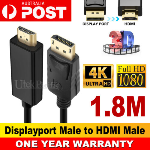 Display Port Displayport DP to HDMI Cable Male to Male Full HD High Speed 1.8M