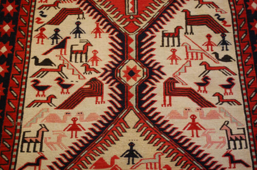 c1930s ANTIQUE SUPER FINE HIGH KPSI CAUCASIAN SOUMAK KILIM 3.2x8.7 HUMANS_ANIMAL