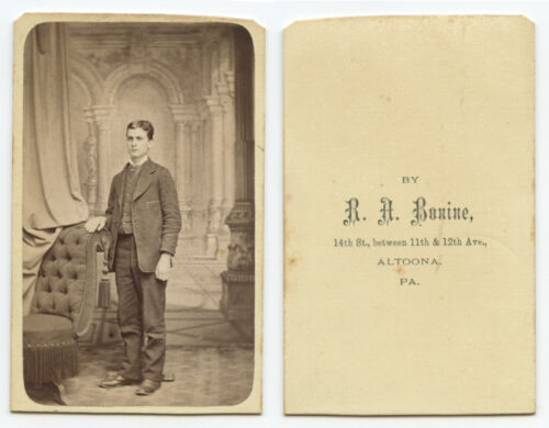 CDV PHOTO PORTRAIT OF A YOUNG MAN FROM ALTOONA, PA, BY BONINE