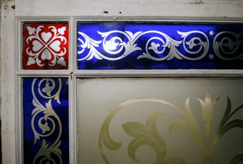 Cut glass window, double, ruby & cobalt to clear, heart, tulip, 7'