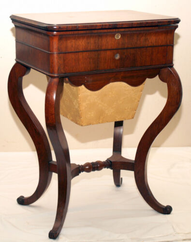 Work Table, sewing Stand. Louis Philippe, Rococo Victorian, rosewood, 29t, c1840