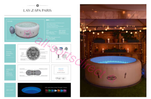 New Lay-Z-Spa Paris Airjet 4-6 Person Inflatable Hot Tub Multicolour LED Lights