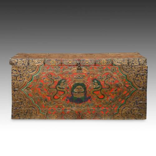 RARE ANTIQUE TRUNK PAINTED PINE WOOD DRAGON TIBET CHINESE FURNITURE 18TH C.