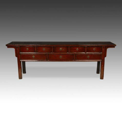 ANTIQUE CHINESE QING CONSOLE CABINET TABLE RED LACQUER FURNITURE CHINA 19TH C.