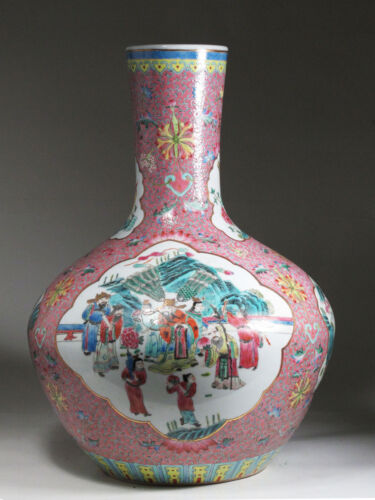 A Beautiful Pink Chinese Famille Rose Porcelain Vase Pretty Patterns & design