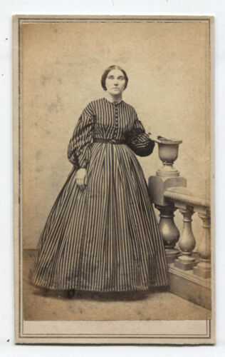 CDV CIVIL WAR ERA TAX STAMP. WOMAN IN STRIPED DRESS.