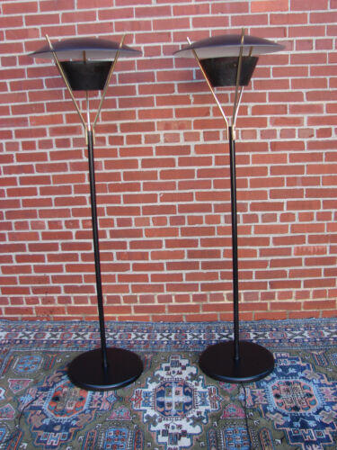 PAIR MCM LIGHTOLIER FLOOR LAMPS BY GERALD THURSTON SAUCER ATOMIC SPACE AGE