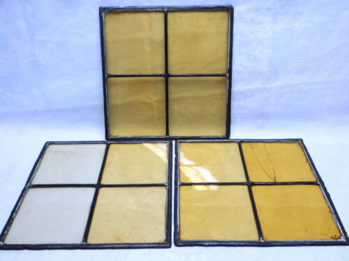 Lot 3 Antique Stained Leaded Glass Windows no Frames