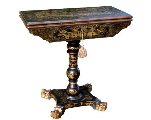 Antique China Trade Card Table, Rare, Lacquered and Gilded Circa 1840