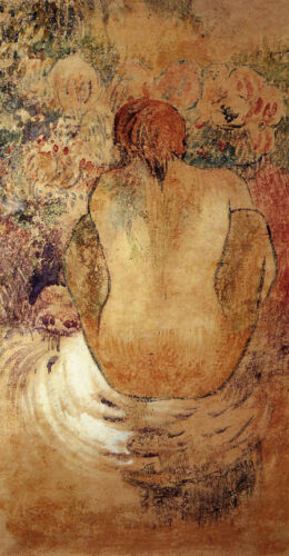 Crouching Marquesan Woman   by Paul Gauguin   Giclee Canvas Print Repro