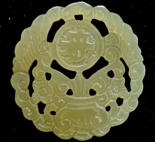 Antique Chinese Museum Quality Greenish White Grade A Jade Pendant