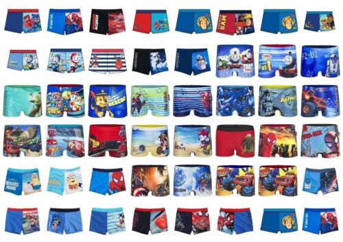 Boys Kids Character Spiderman Cars Paw Patrol Swimming Boxer Swim Trunk Age 2-12