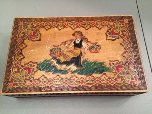 Vintage Painted Carved Wooden Box With Swiss German Girl Folk  11 X 7 X 3""