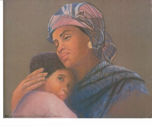 African American Art Print Mother and Daughter Girl 8X10