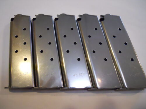 1911, mag, magazine, mags  5 pcs. Stainless Steel , 8 shot, USA,  .45 caliberMagazines - 177879