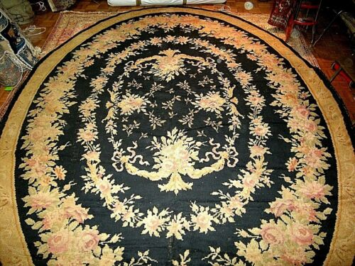 Antique Russian Savonnerie Oval Carpet Late 19th Century
