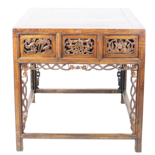 """Rare Ornately Carved Antique Chinese Walnut 6 Drawer Table 35"""" x 45"""" x 35"""" tall"""