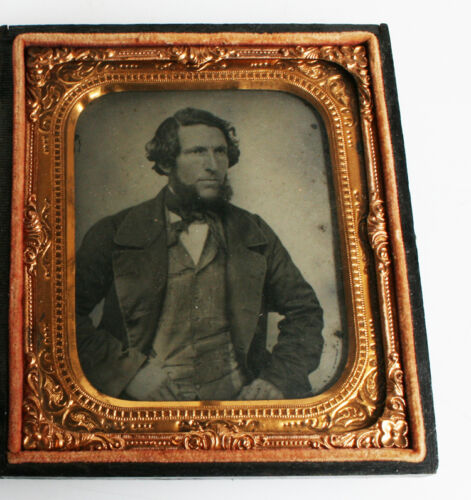 TINTYPE PORTRAIT OF HANDSOME WELL-DRESSED MAN BY SCHOONMAKER OF TROY, NY