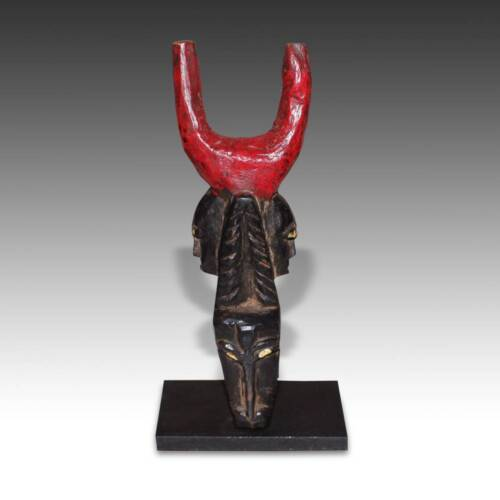 VINTAGE SLINGSHOT PAINTED WOOD BAULE PEOPLE IVORY COAST WEST AFRICA 20TH C