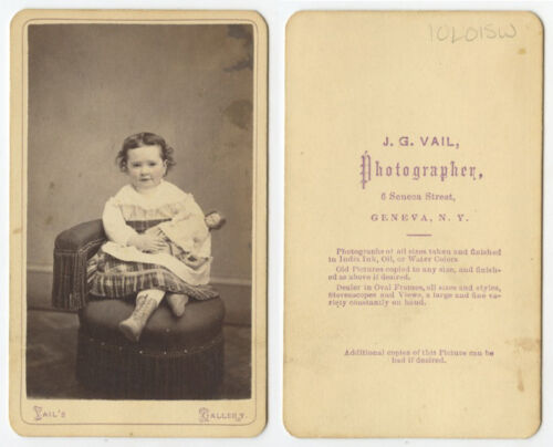 CDV STUDIO PORTRAIT OF CUTE CHILD FROM GENEVA, NY, BY VAIL