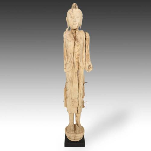 ANTIQUE STANDING BUDDHA TENASSERIM PINE WOOD THAILAND LATE 19TH / EARLY 20TH C.