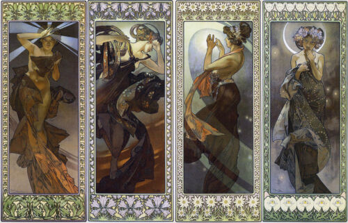 Lune et etoiles   by Alphons Mucha   Giclee Canvas Print Repro