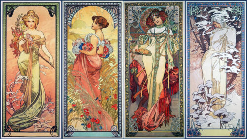 The Four Seasons   by Alphons Mucha   Giclee Canvas Print Repro