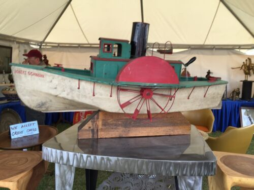 ANTIQUE1920 MODEL SHIP MECHANICAL TOY PADDLE POND BOAT MARITIME FOLK ART
