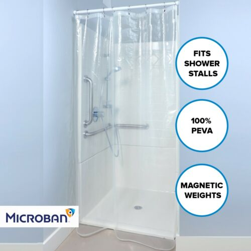 """Clear Mildew Resistant Midweight PEVA Shower Stall Curtain Liner (54"""" x 78"""", 5G)"""