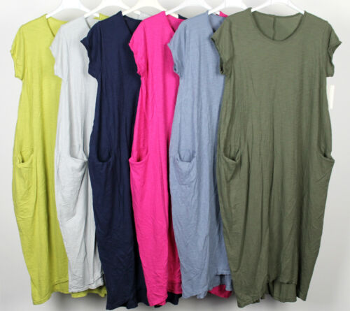 New Italian Lagenlook Quirky Boho Jersey Soft Cotton Stretch Pocket Tunic Dress  <br/> Spring/Summer Colours Back in Stock for 2019