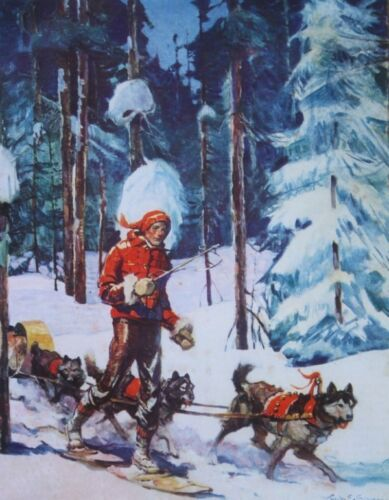 Winter Scene Dog Sled snow shoes by Frank E Schoonover