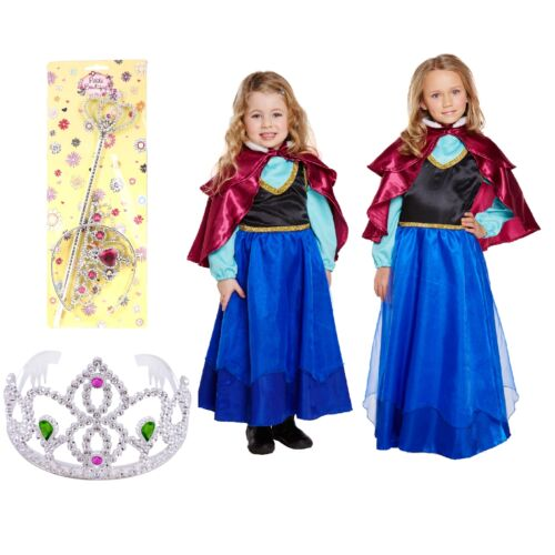 Ice Princess Fancy Dress Up Costume Frozen Anna Fairytale Story Girls Outfit Day
