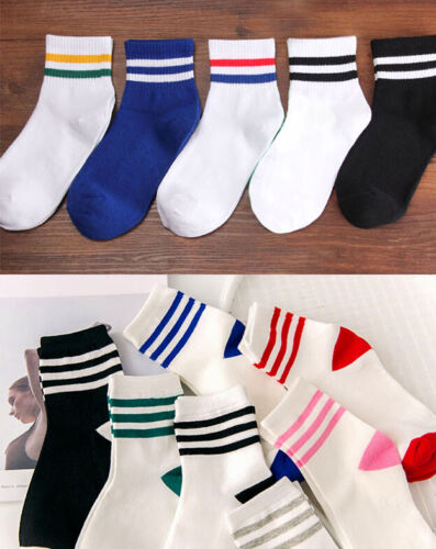 Ladies Casual College Sports Cotton Ankle Socks with Stripe