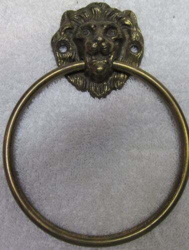Antique Large Ringed Lions Head Face Door Knocker Towel Bar Ring Solid Brass