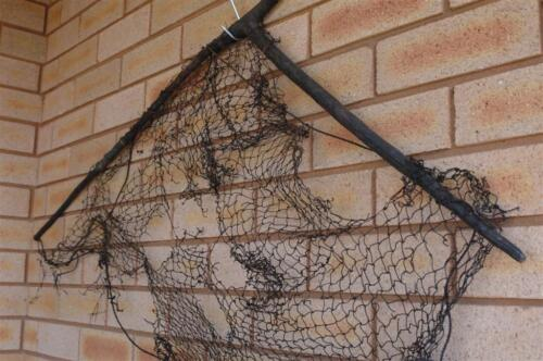 Old Papua New Guinea Hand Made Fishing Net… with beautiful wooden holder...