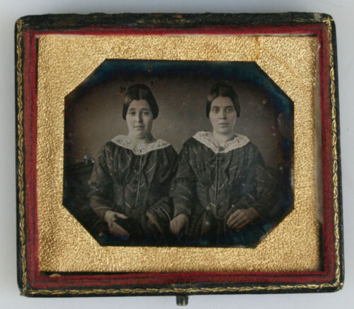 DAGUERREOTYPE EARLY,TWIN? SISTERS. 1/6TH PLATE, MOTHER OF PEARL FULL CASE.
